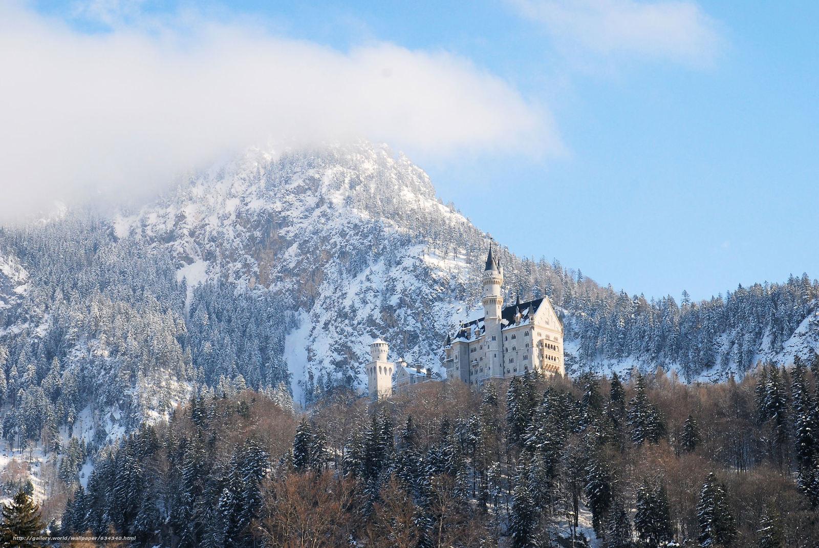 Скачать обои Neuschwanstein Castle,  Bavaria,  Germany,  Замок Нойшванштайн бесплатно для рабочего стола в разрешении 2048x1370 — картинка №634340