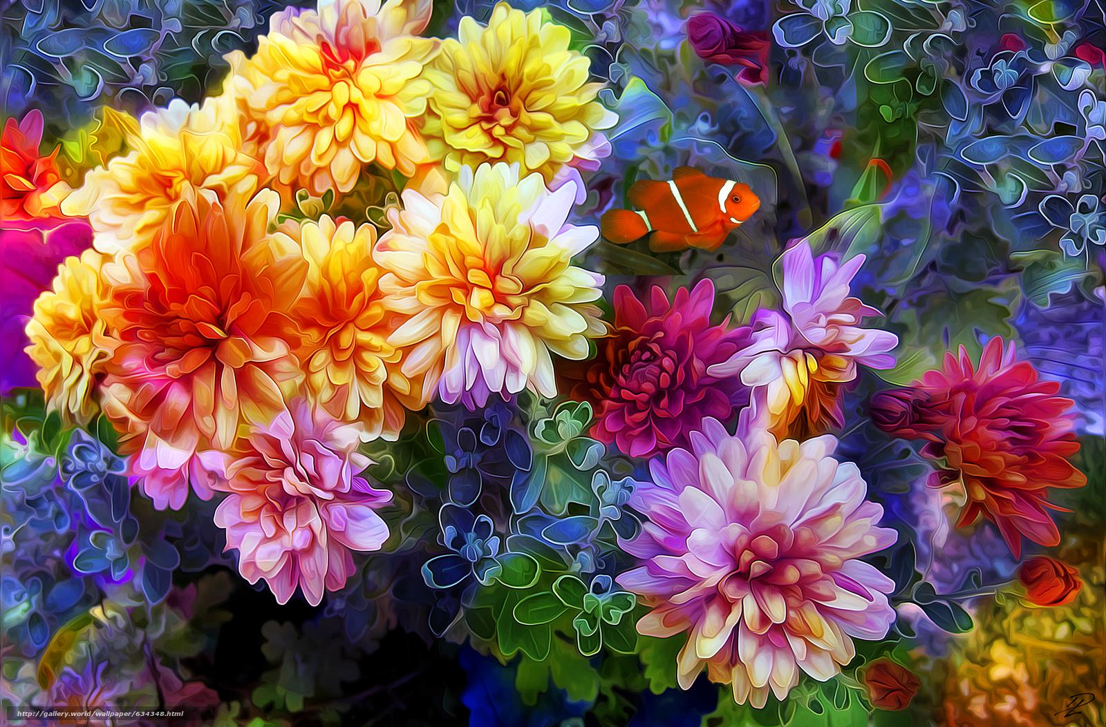 Descargar gratis Flores,  3d,  arte Fondos de escritorio en la resolucin 2600x1711 — imagen №634348