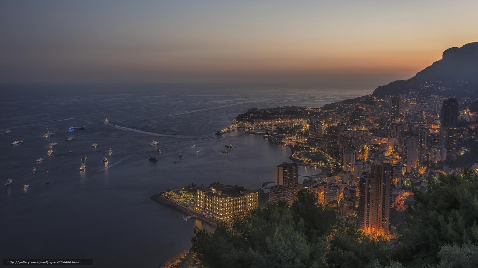 scaricare gli sfondi Monaco,  Monte Carlo,  città,  tramonto Sfondi gratis per la risoluzione del desktop 7360x4140 — immagine №634400