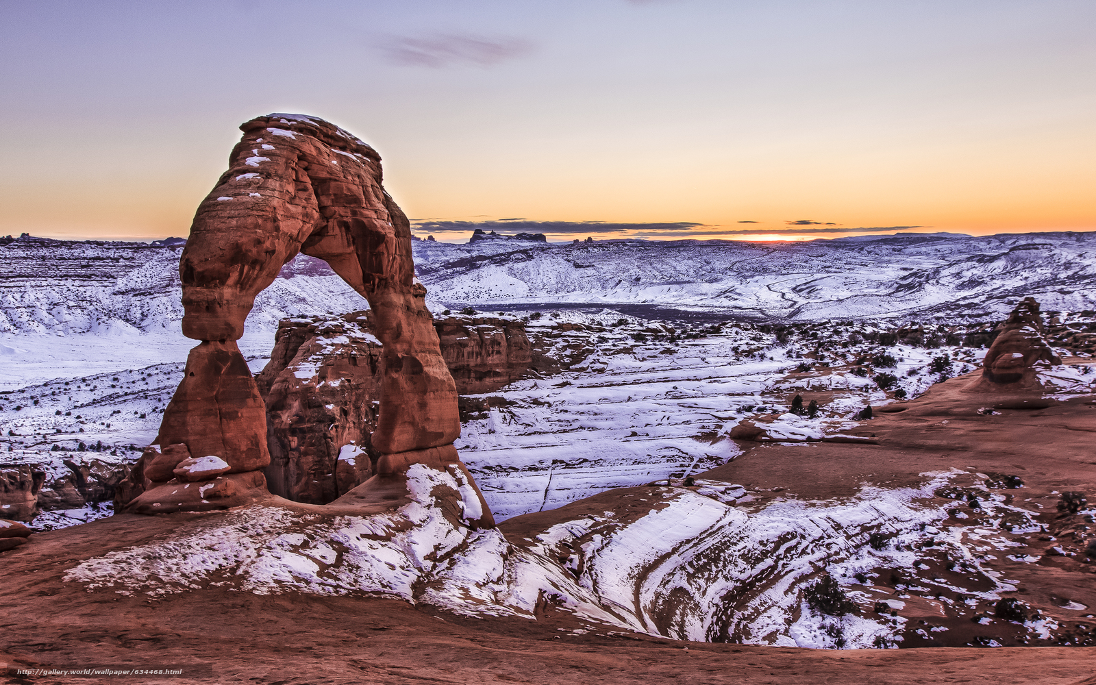 Download Wallpaper Delicate Arch Winter Arches National Park Sunset Free Desktop In The Resolution 2560x1600 Picture No634468