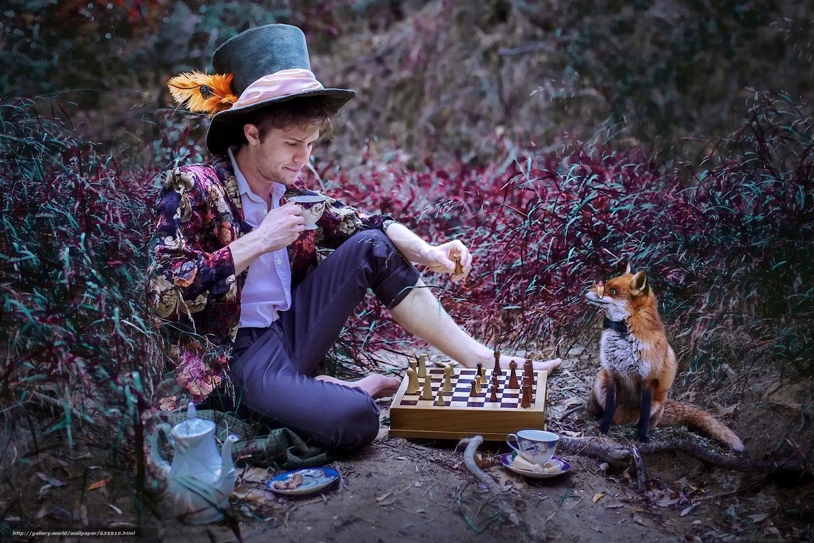 Скачать обои парень,  лиса,  чаепитие,  шахматы бесплатно для рабочего стола в разрешении 1920x1280 — картинка №635810