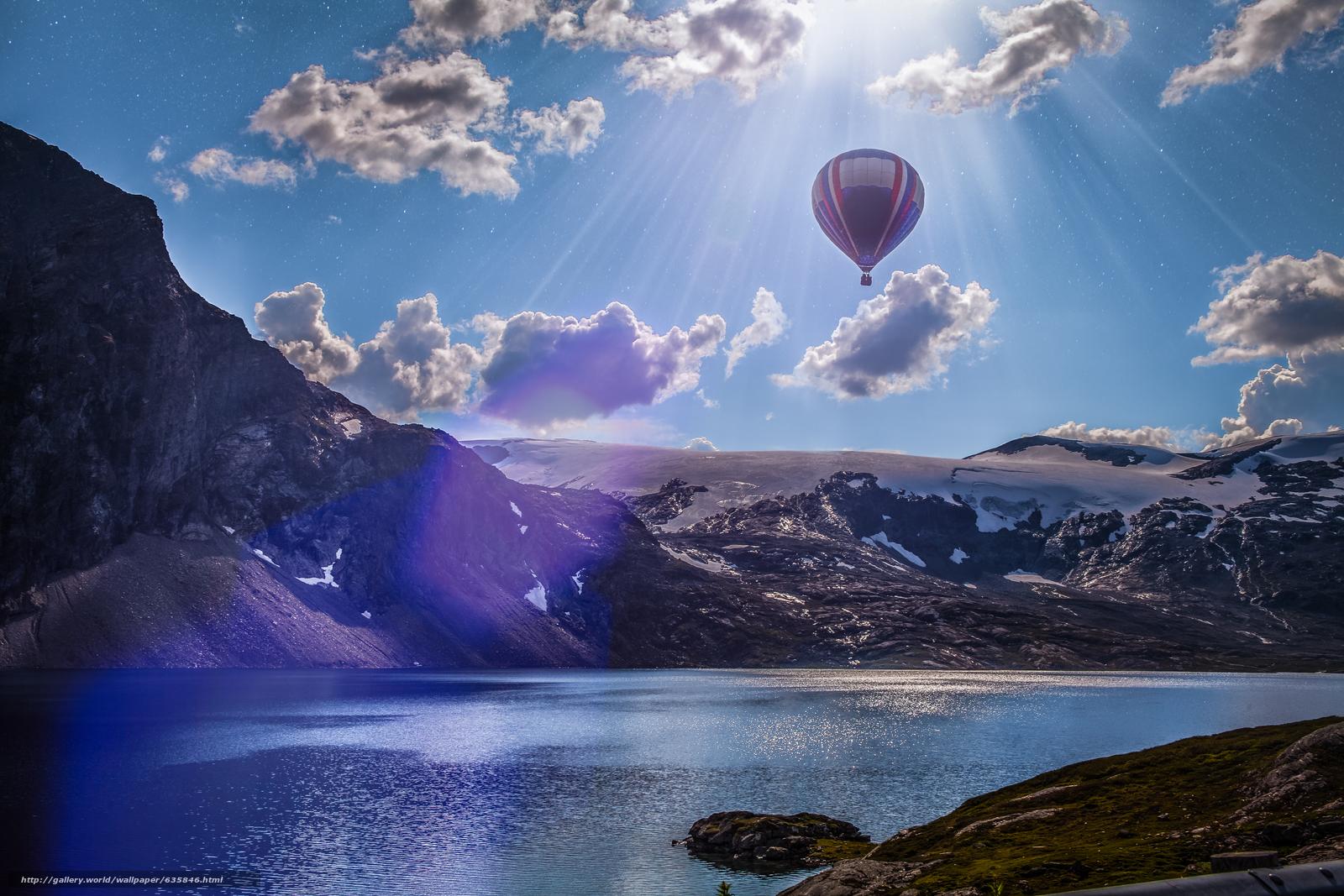 Скачать обои озеро,  горы,  воздушный шар,  пейзаж бесплатно для рабочего стола в разрешении 5616x3744 — картинка №635846