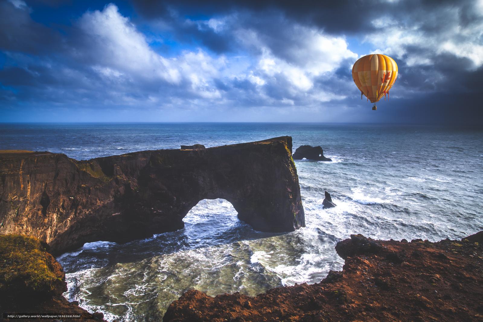 Скачать обои море,  скала,  арка,  воздушный шар бесплатно для рабочего стола в разрешении 5425x3619 — картинка №636368
