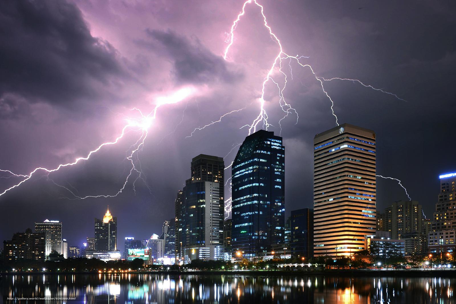 Скачать обои Bangkok,  Thailand,  город,  молния бесплатно для рабочего стола в разрешении 2400x1602 — картинка №636380