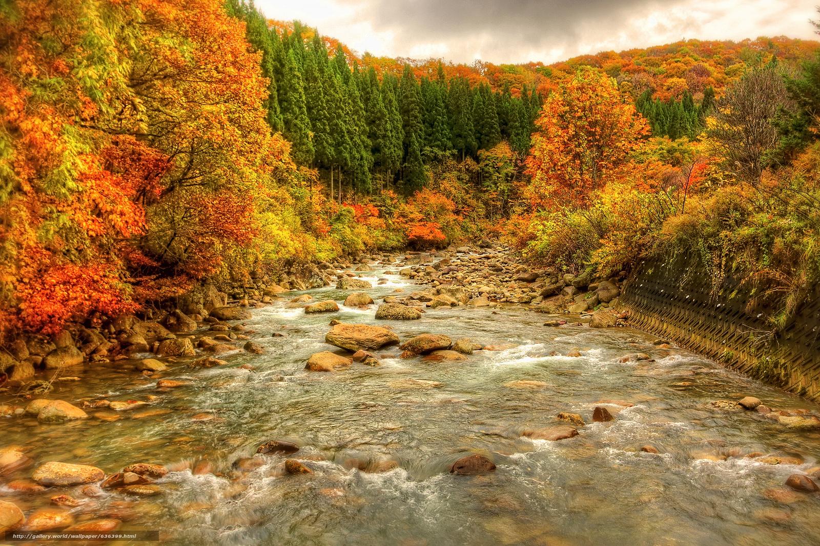 Скачать обои осень,  река,  камни,  лес бесплатно для рабочего стола в разрешении 1944x1296 — картинка №636399