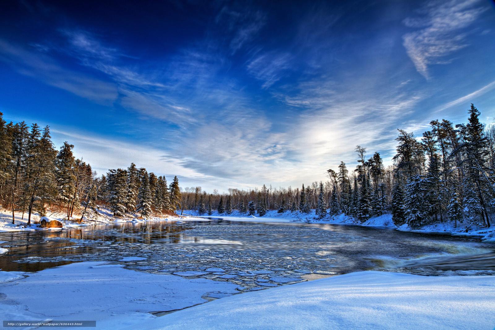 下载壁纸 冬天,  河,  树,  景观 免费为您的桌面分辨率的壁纸 5183x3455 — 图片 №636443