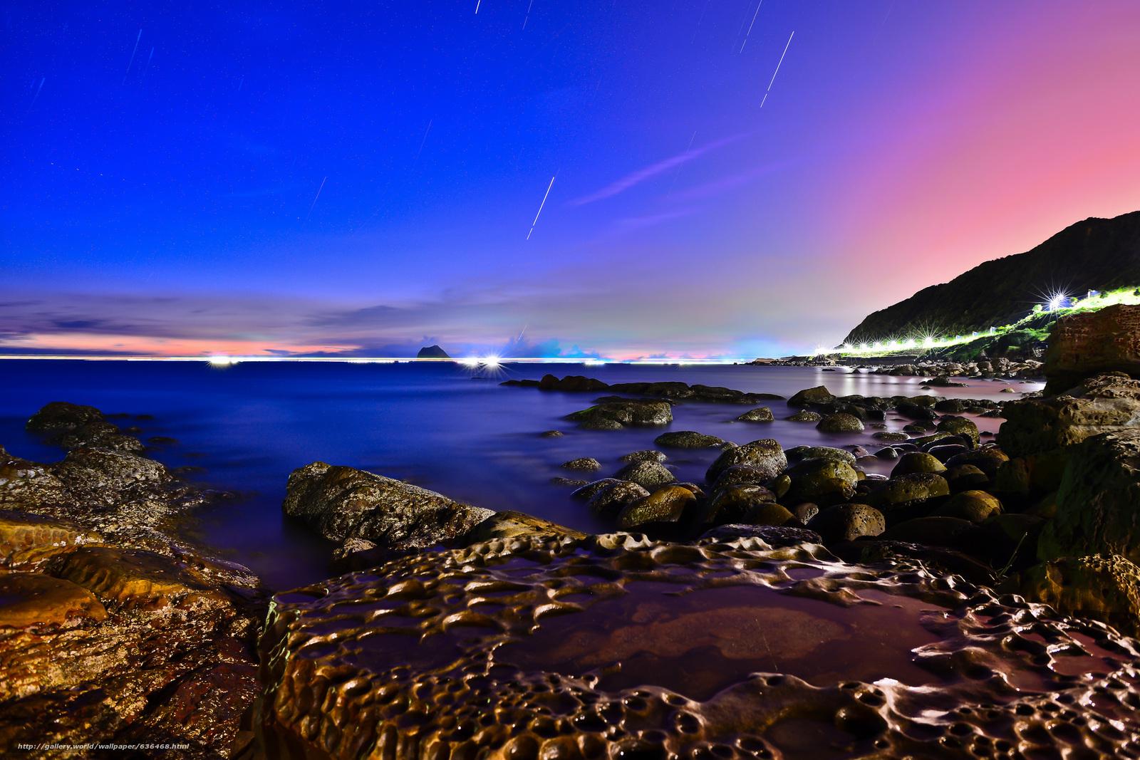 Скачать обои закат,  море,  берег,  скалы бесплатно для рабочего стола в разрешении 2048x1366 — картинка №636468