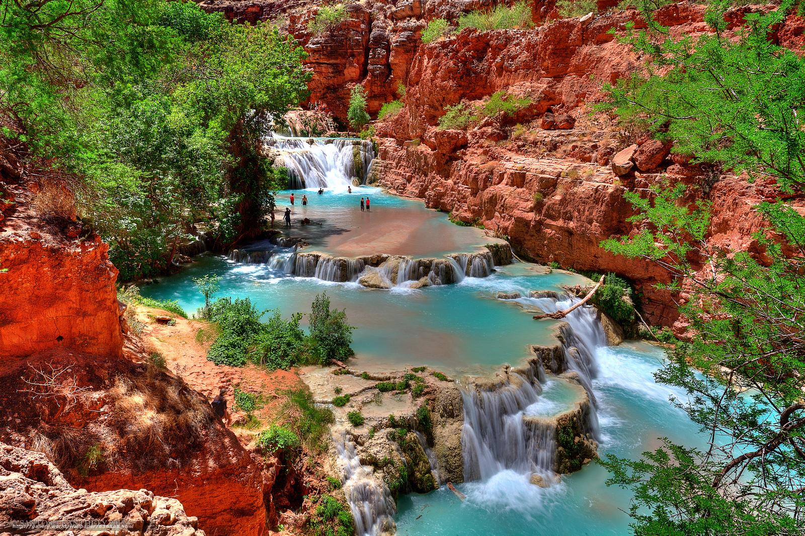 scaricare gli sfondi Beaver Falls,  Grand Canyon,  e AZ,  USA Sfondi gratis per la risoluzione del desktop 2048x1364 — immagine №636565