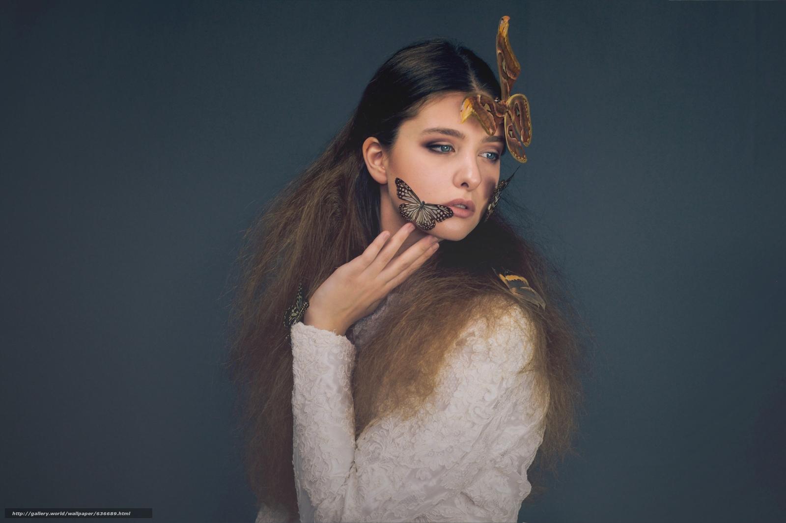 Скачать обои модель,  бабочки,  волосы,  стиль бесплатно для рабочего стола в разрешении 4279x2848 — картинка №636689