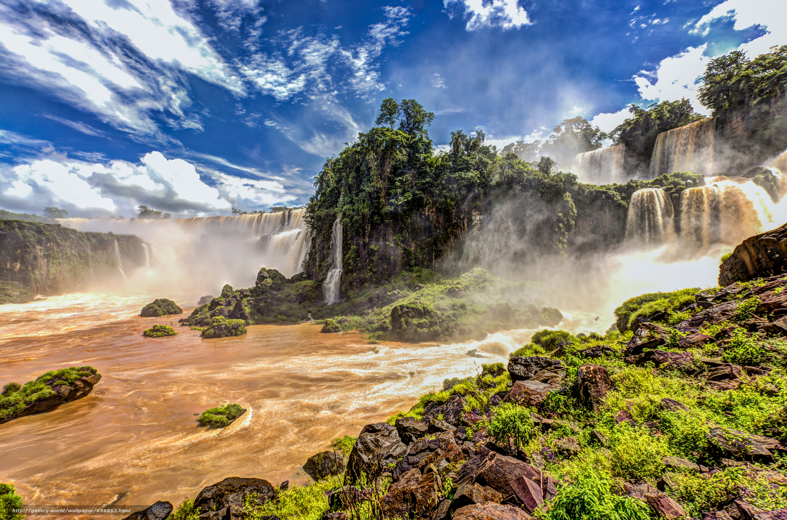 Download wallpaper Iguazu Waterfalls,  It located in the south-western border of Brazil,  Argentina,  waterfall free desktop wallpaper in the resolution 5711x3773 — picture №636852