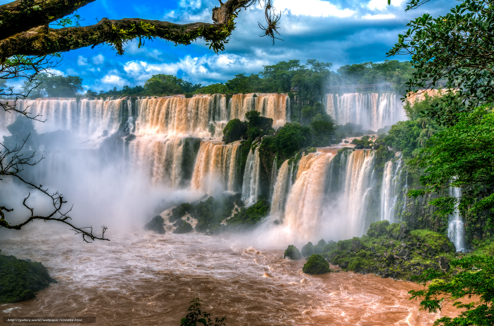 Download wallpaper Iguazu Waterfalls,  It located in the south-western border of Brazil,  Argentina,  waterfall free desktop wallpaper in the resolution 5727x3782 — picture №636854