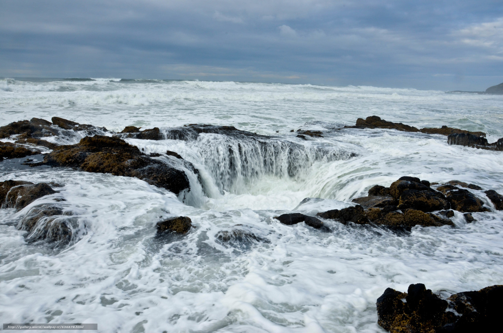 Download wallpaper Thor's Well,  sunset,  Cape Perpetua,  Oregon free desktop wallpaper in the resolution 4928x3264 — picture №636878