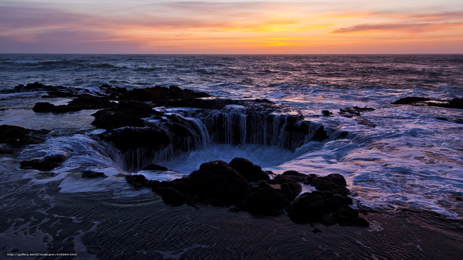 Download wallpaper Thor's Well,  sunset,  Cape Perpetua,  Oregon free desktop wallpaper in the resolution 7200x4050 — picture №636886