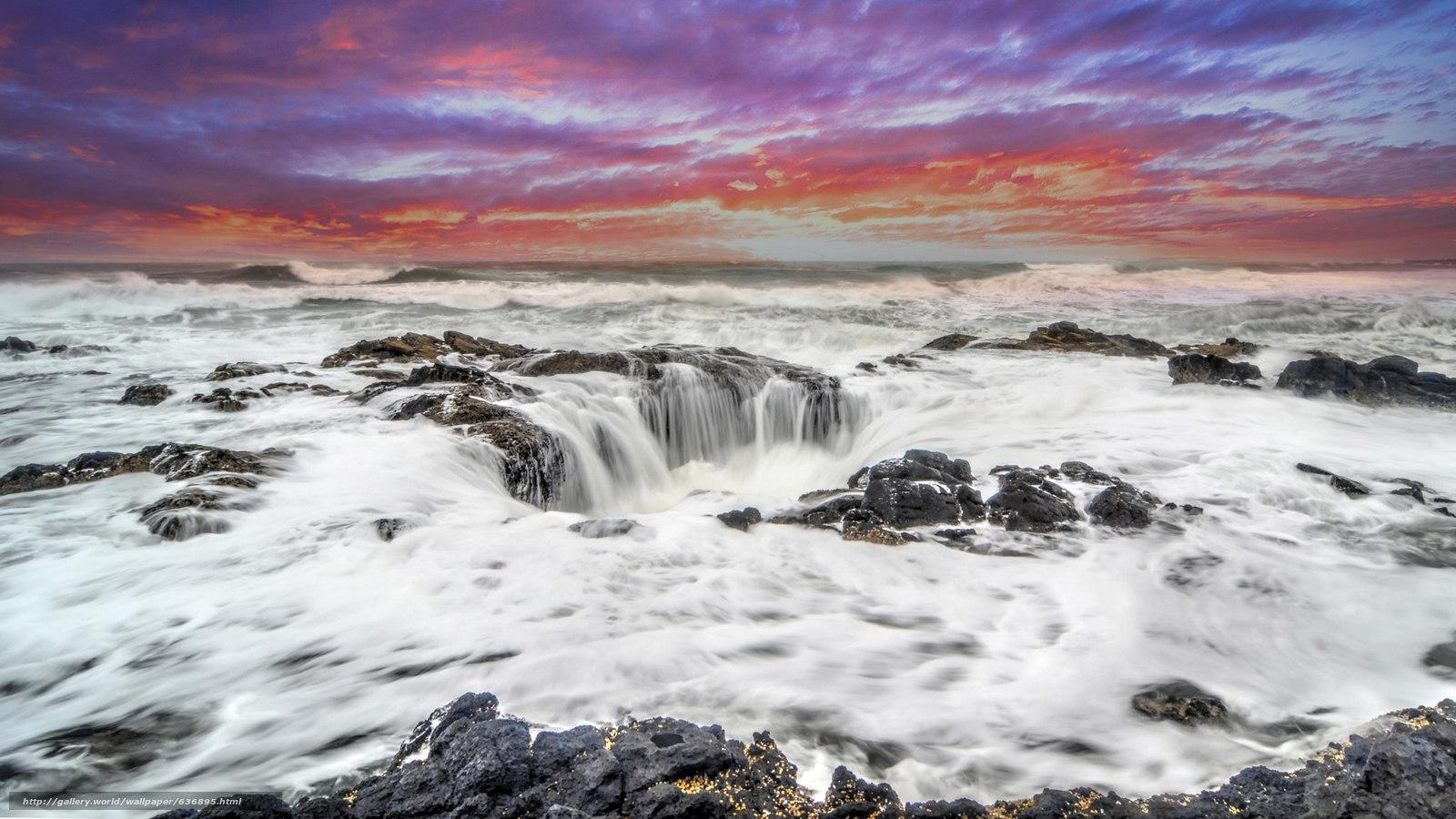 Скачать обои Thor's Well,  Sunset,  Cape Perpetua,  Oregon бесплатно для рабочего стола в разрешении 2048x1152 — картинка №636895