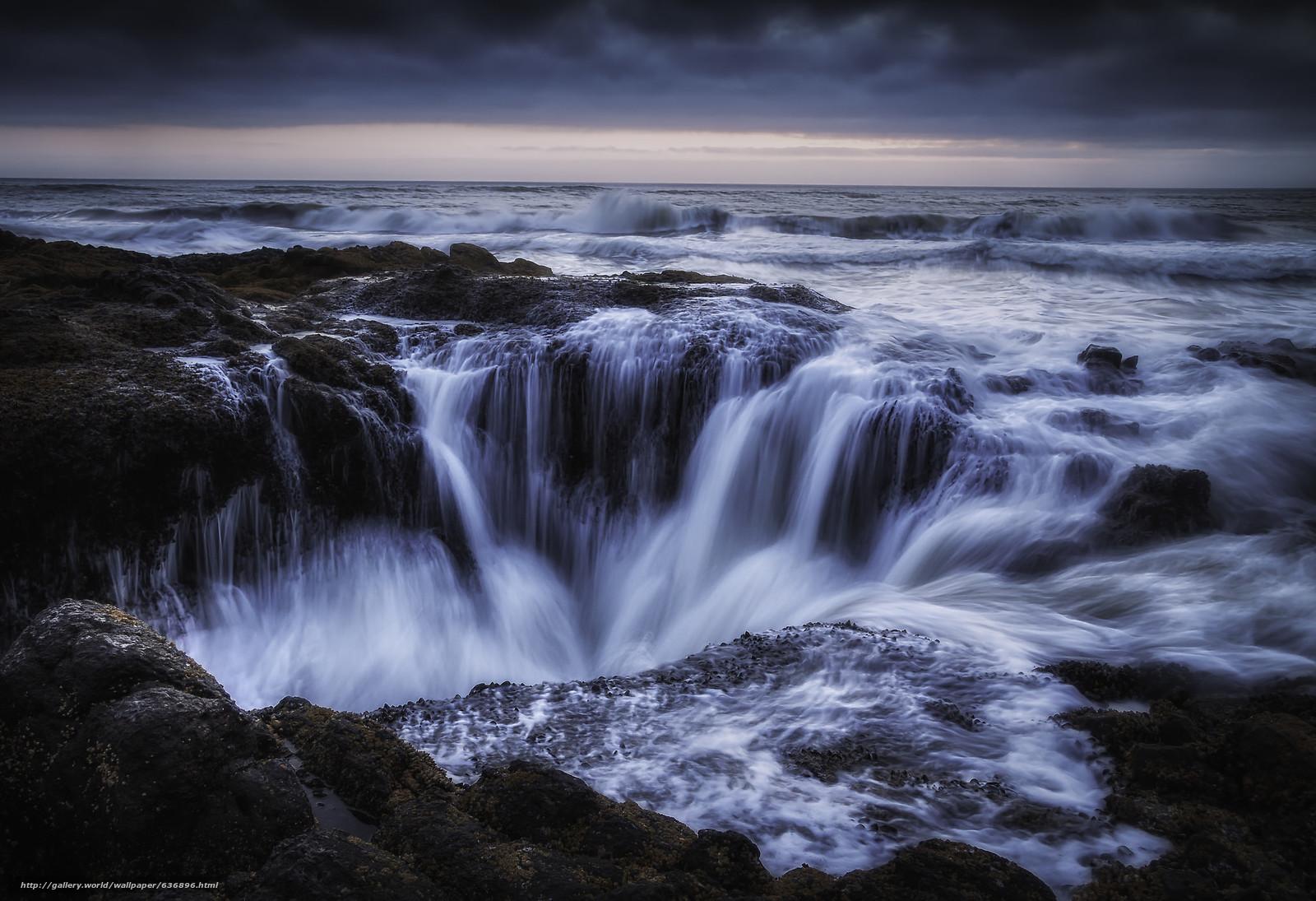 Скачать обои Thor's Well,  Sunset,  Cape Perpetua,  Oregon бесплатно для рабочего стола в разрешении 2048x1402 — картинка №636896