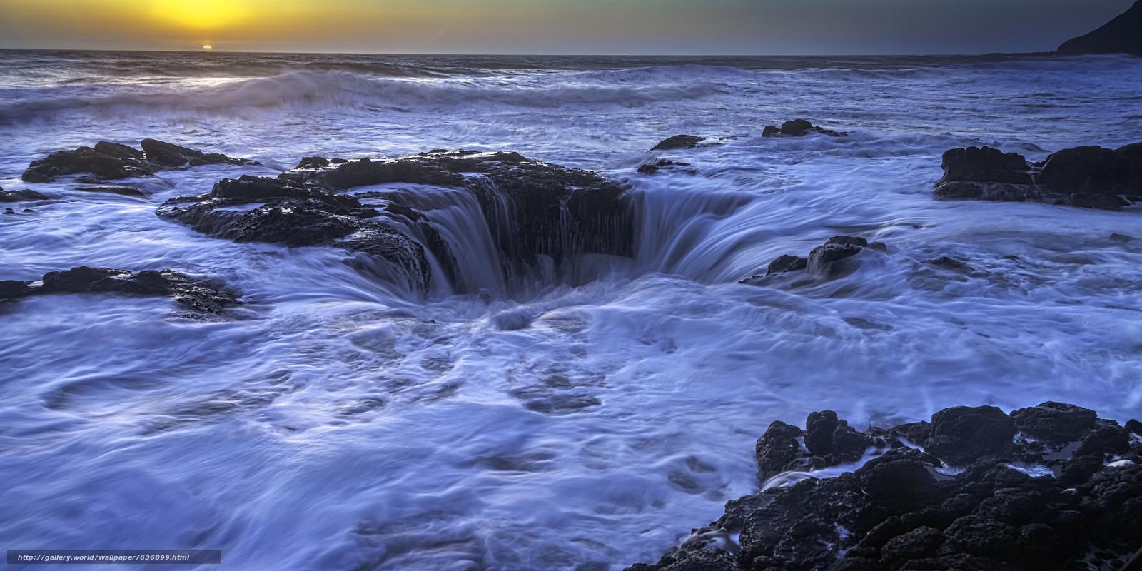Скачать обои Thor's Well,  Sunset,  Cape Perpetua,  Oregon бесплатно для рабочего стола в разрешении 5574x2787 — картинка №636899