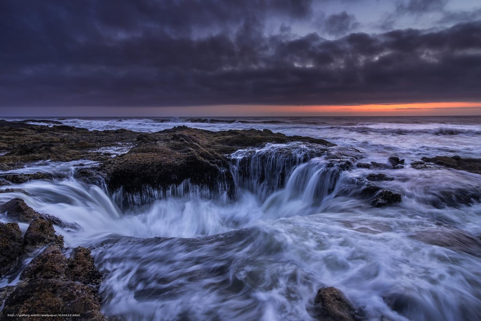 Скачать обои Thor's Well,  Sunset,  Cape Perpetua,  Oregon бесплатно для рабочего стола в разрешении 2048x1367 — картинка №636923