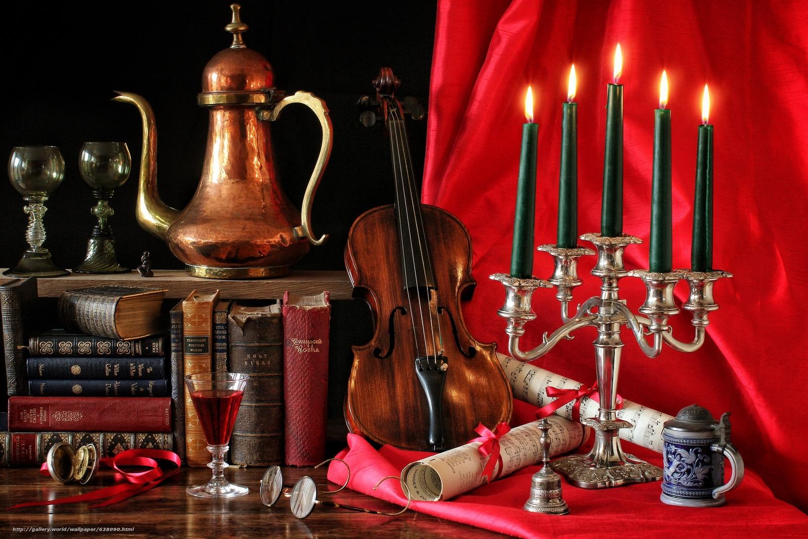 Скачать обои натюрморт,  скрипка,  книги,  свечи бесплатно для рабочего стола в разрешении 5184x3456 — картинка №638090