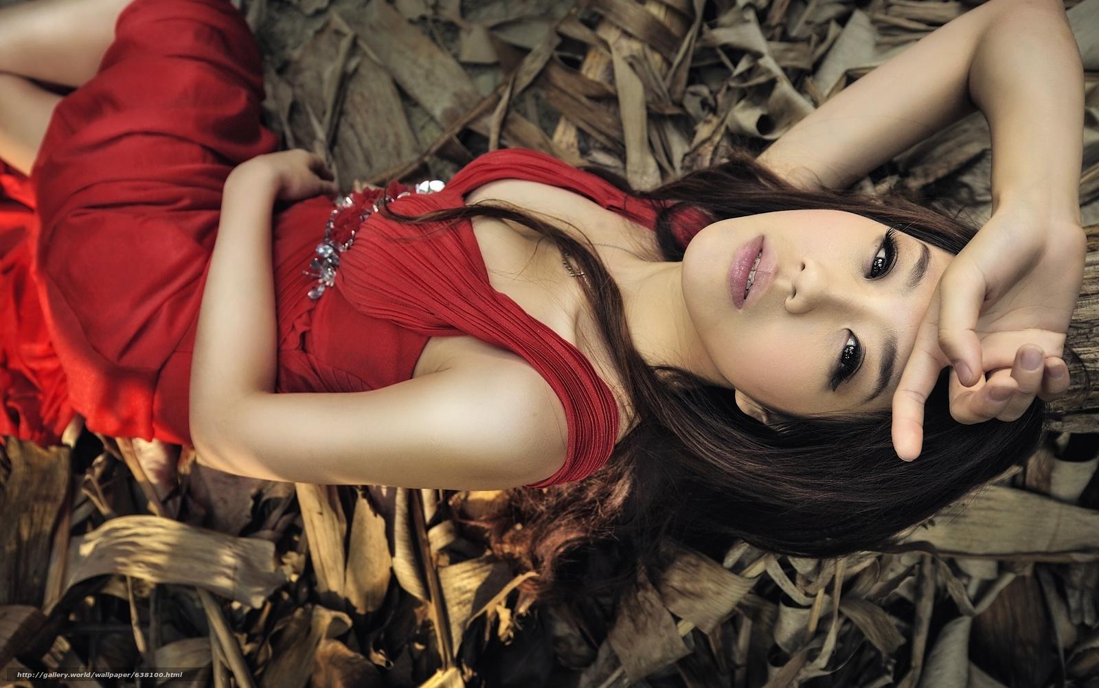 Скачать обои азиатка,  модель,  красное платье,  поза бесплатно для рабочего стола в разрешении 2560x1603 — картинка №638100