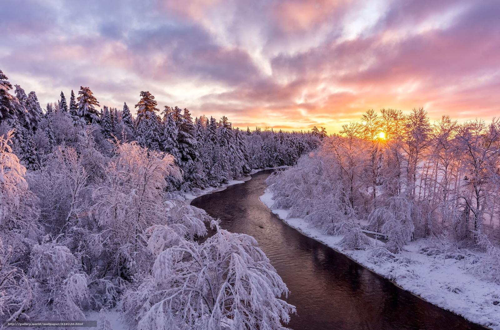 Descargar gratis invierno,  puesta del sol,  río,  bosque Fondos de escritorio en la resolucin 2048x1354 — imagen №638120