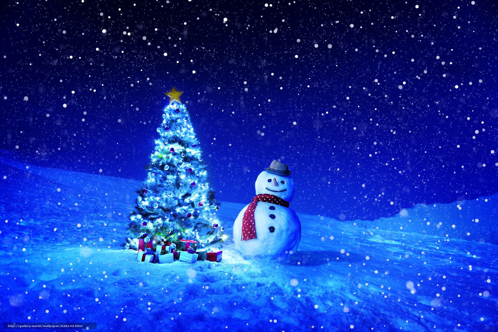 Descargar gratis Árbol de Navidad,  muñeco de nieve,  nieve,  regalos Fondos de escritorio en la resolucin 2048x1365 — imagen №638143