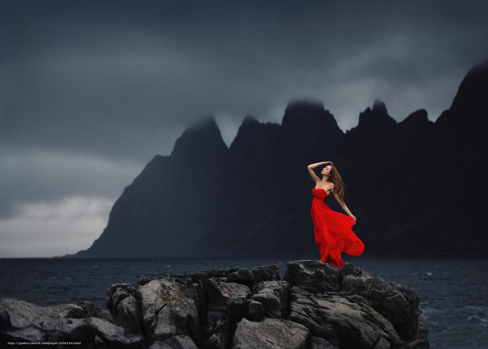 scaricare gli sfondi ragazza,  Red Dress,  stato d'animo,  oceano Sfondi gratis per la risoluzione del desktop 2048x1463 — immagine №638220
