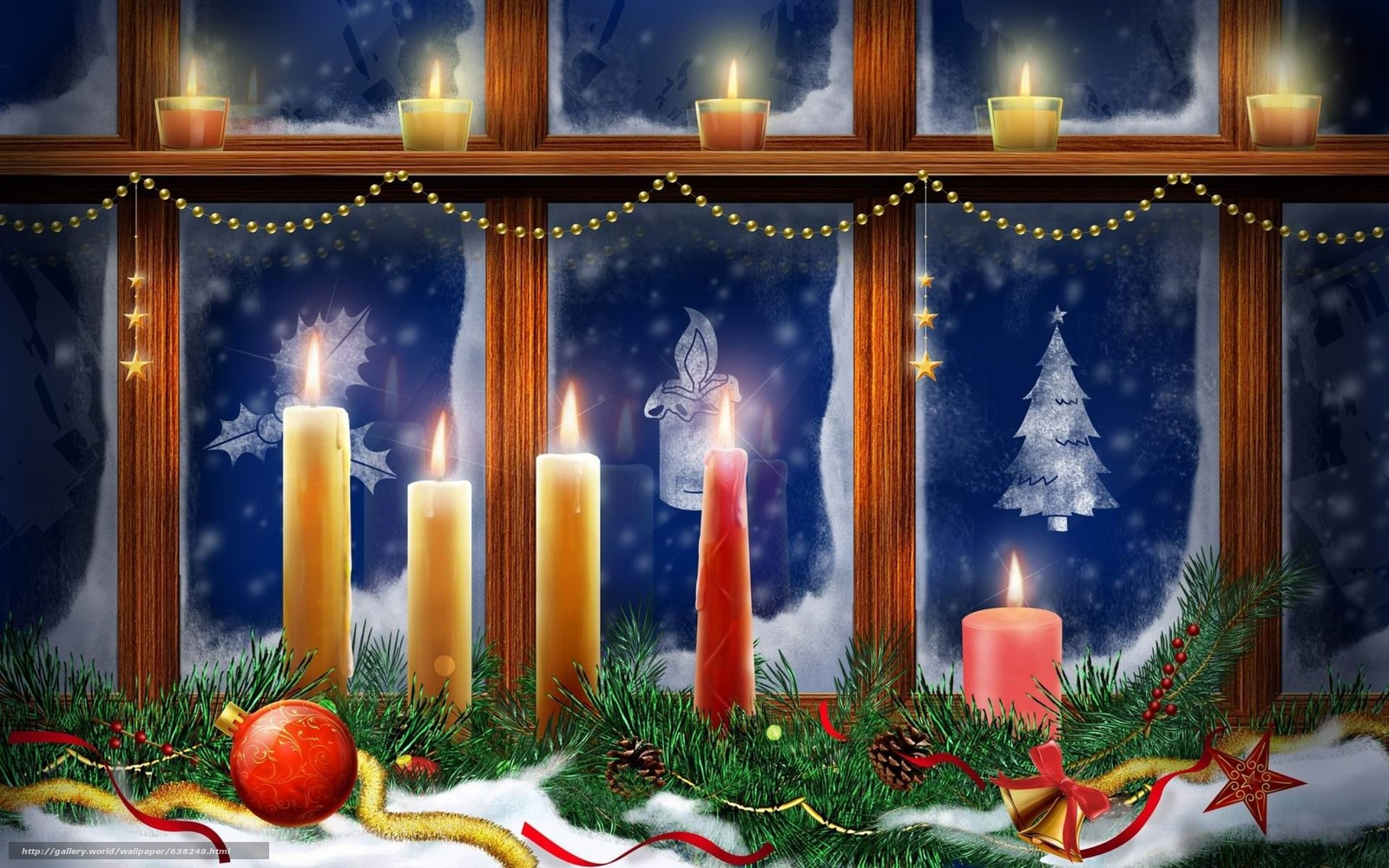 scaricare gli sfondi Capodanno,  finestra,  Candele,  Sfondi di Natale Sfondi gratis per la risoluzione del desktop 2880x1800 — immagine №638248