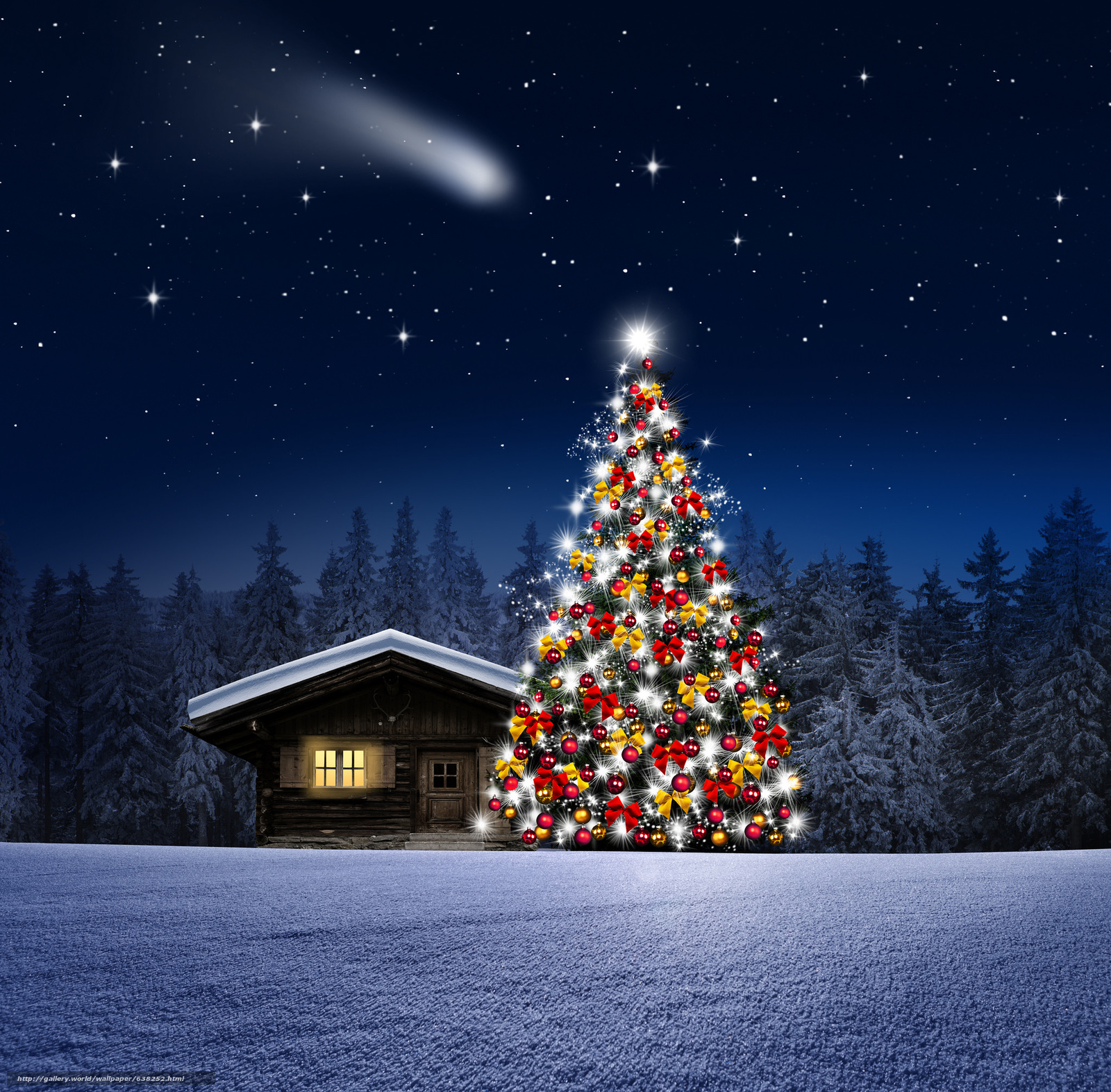 Скачать обои ночь,  новогодняя ёлка,  домик,  деревья бесплатно для рабочего стола в разрешении 2048x2014 — картинка №638252