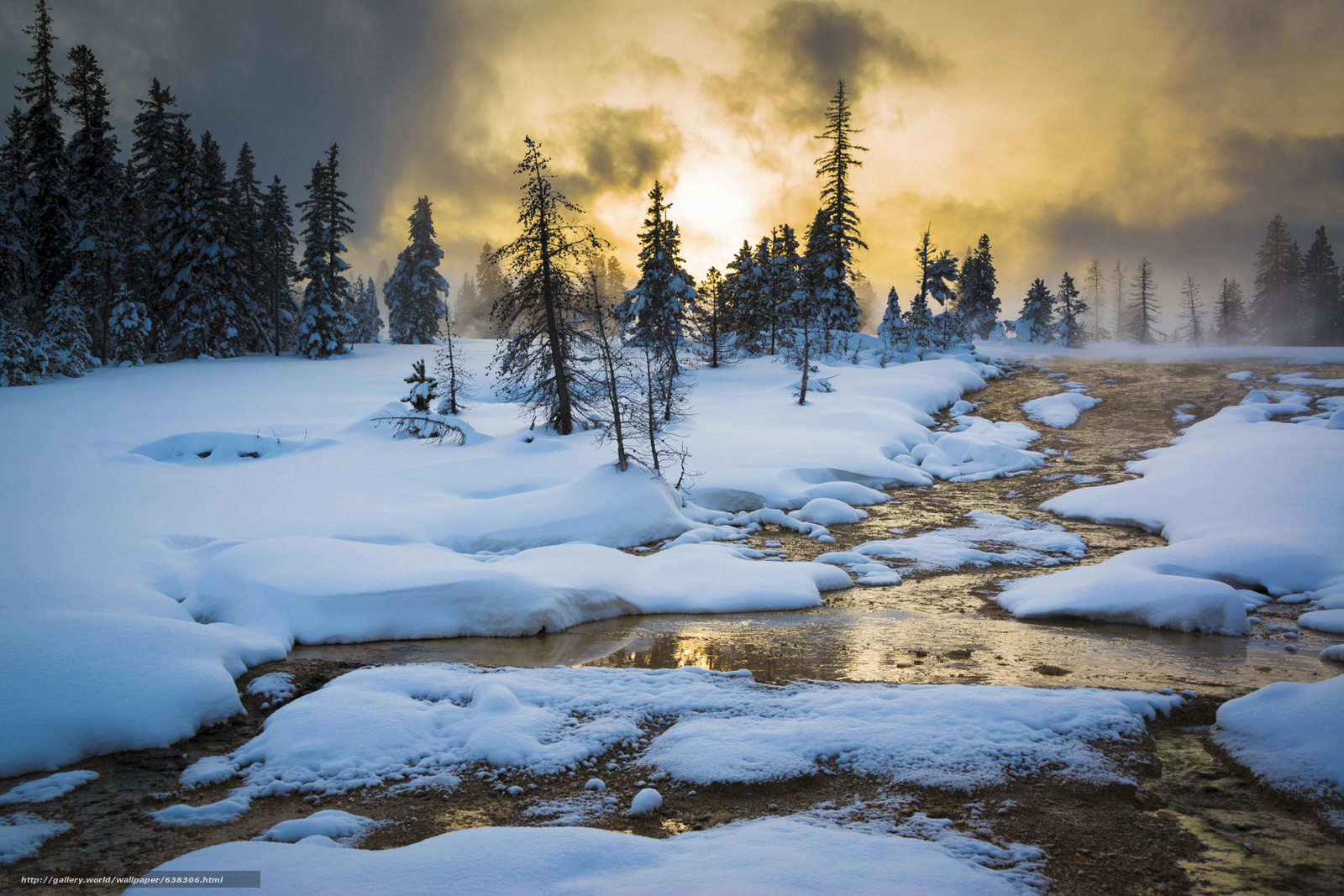 Download Wallpaper Yellowstone National Park Sunset Winter