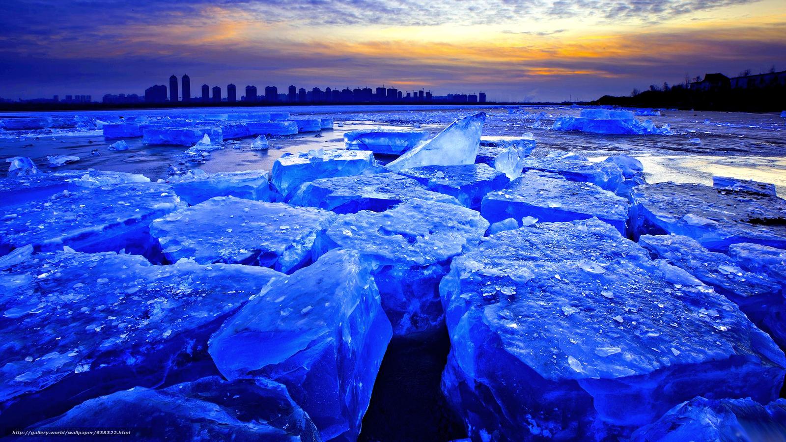 Скачать обои лёд,  ледник,  льдины,  зима бесплатно для рабочего стола в разрешении 2048x1152 — картинка №638322