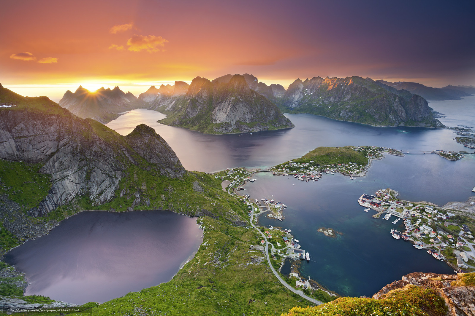 Download wallpaper The Lofoten Islands,  sunset,  landscape free desktop wallpaper in the resolution 2048x1365 — picture №638443