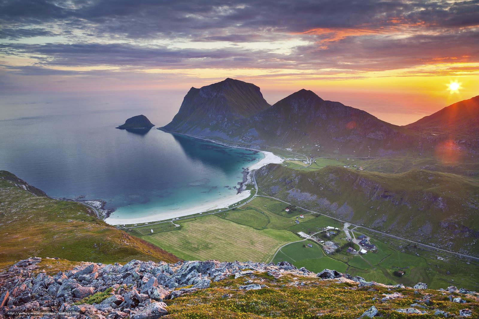 Download wallpaper The Lofoten Islands,  sunset,  landscape free desktop wallpaper in the resolution 2048x1365 — picture №638444