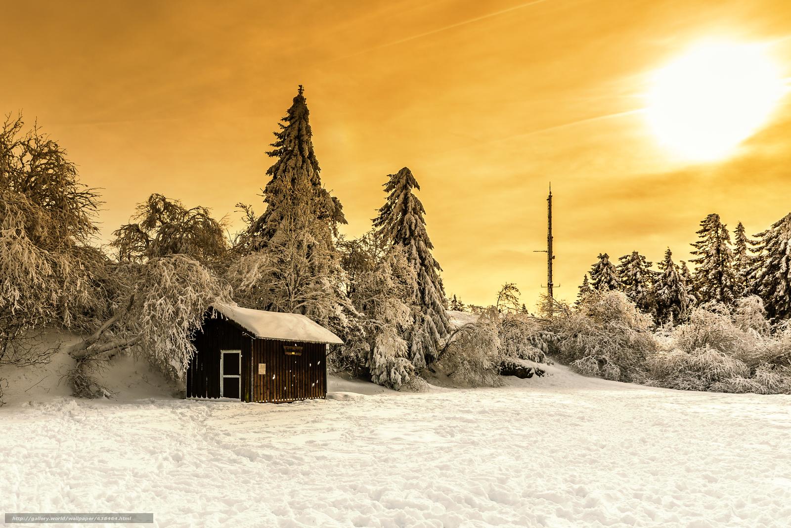Скачать обои закат,  зима,  домик,  деревья бесплатно для рабочего стола в разрешении 4608x3076 — картинка №638464