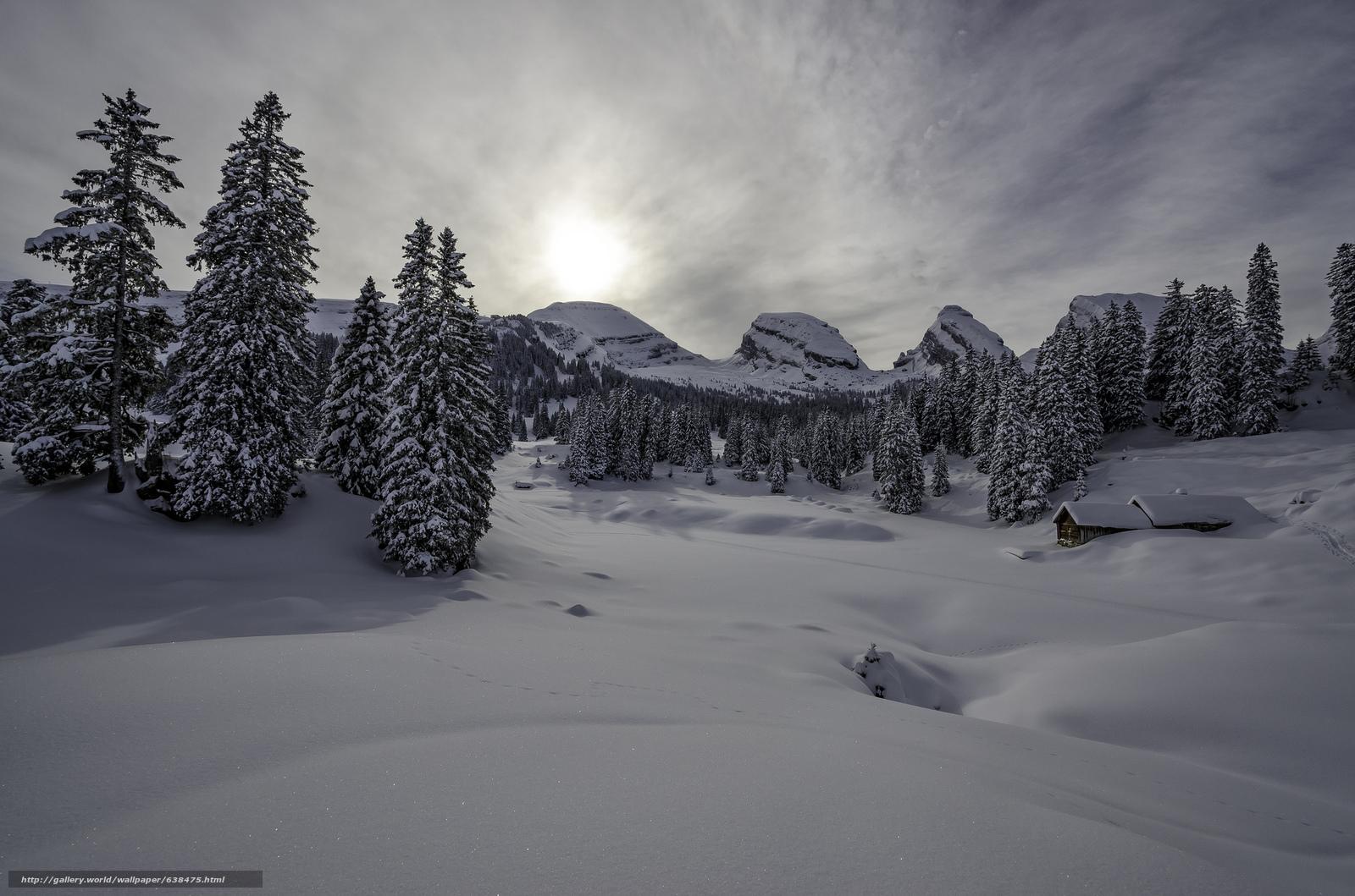 Скачать обои зима,  горы,  деревья,  домик бесплатно для рабочего стола в разрешении 2048x1356 — картинка №638475