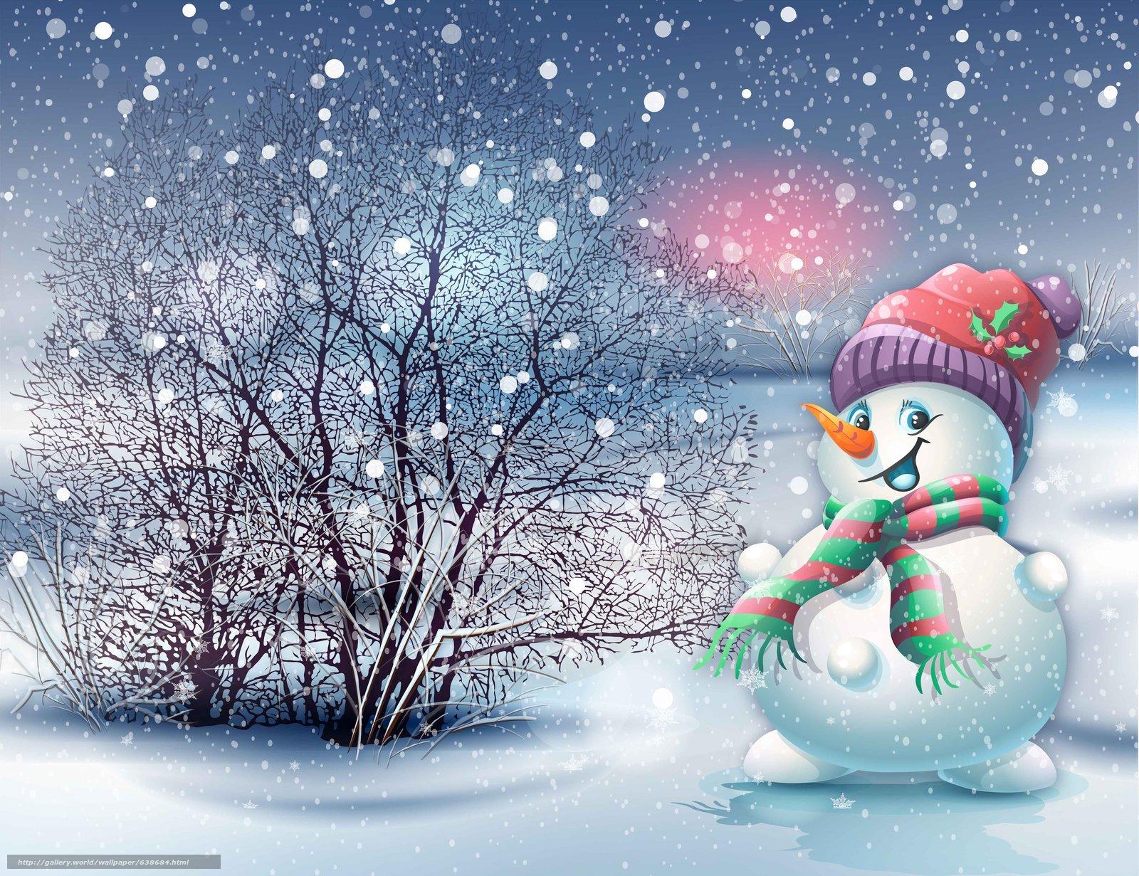 Download wallpaper snowman christmas wallpaper snow free for Natale immagini per desktop