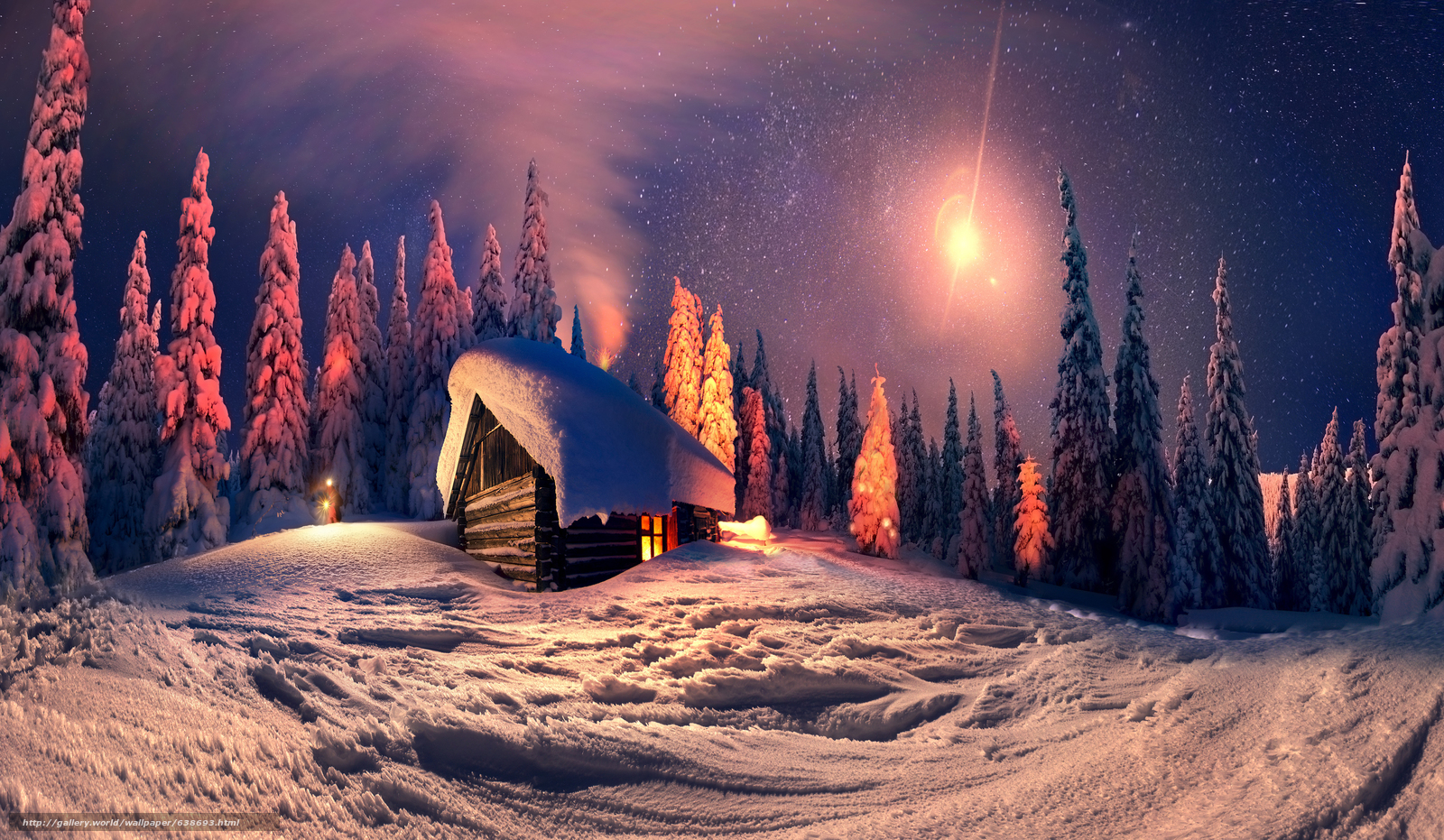 pobra tapety zima,  noc,  drzew,  kabina Darmowe tapety na pulpit rozdzielczoci 6500x3783 — zdjcie №638693