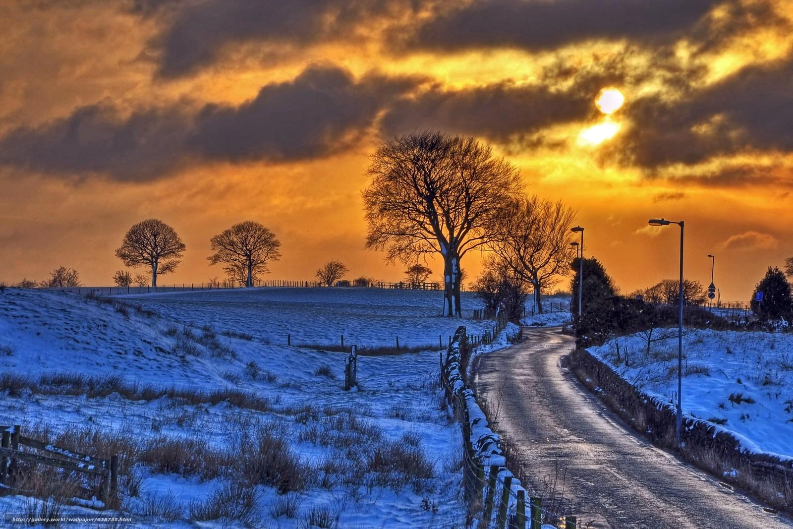 Скачать обои закат,  зима,  поле,  холмы бесплатно для рабочего стола в разрешении 4117x2745 — картинка №638785