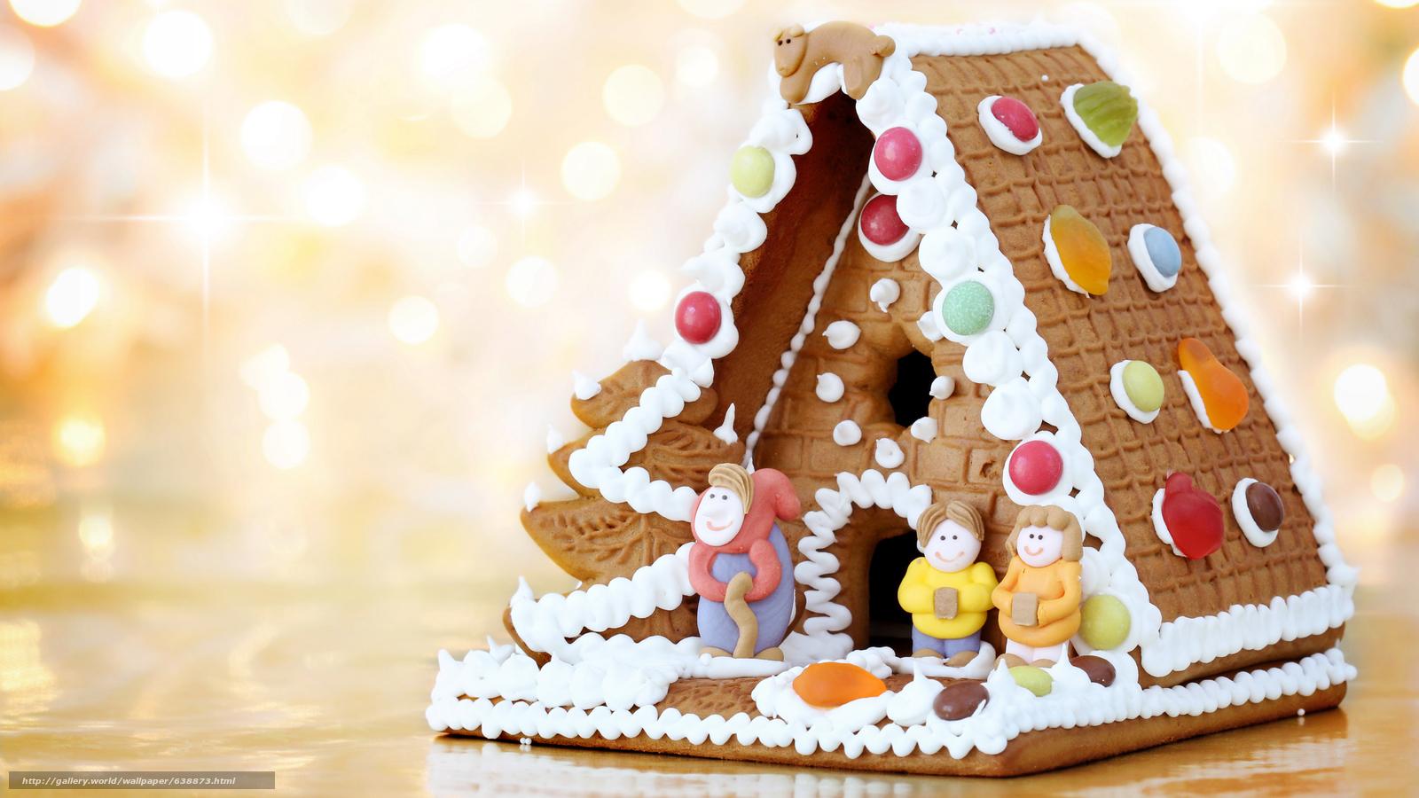 Скачать обои Новый год,  печенье,  праздник,  пряничный домик бесплатно для рабочего стола в разрешении 7680x4320 — картинка №638873