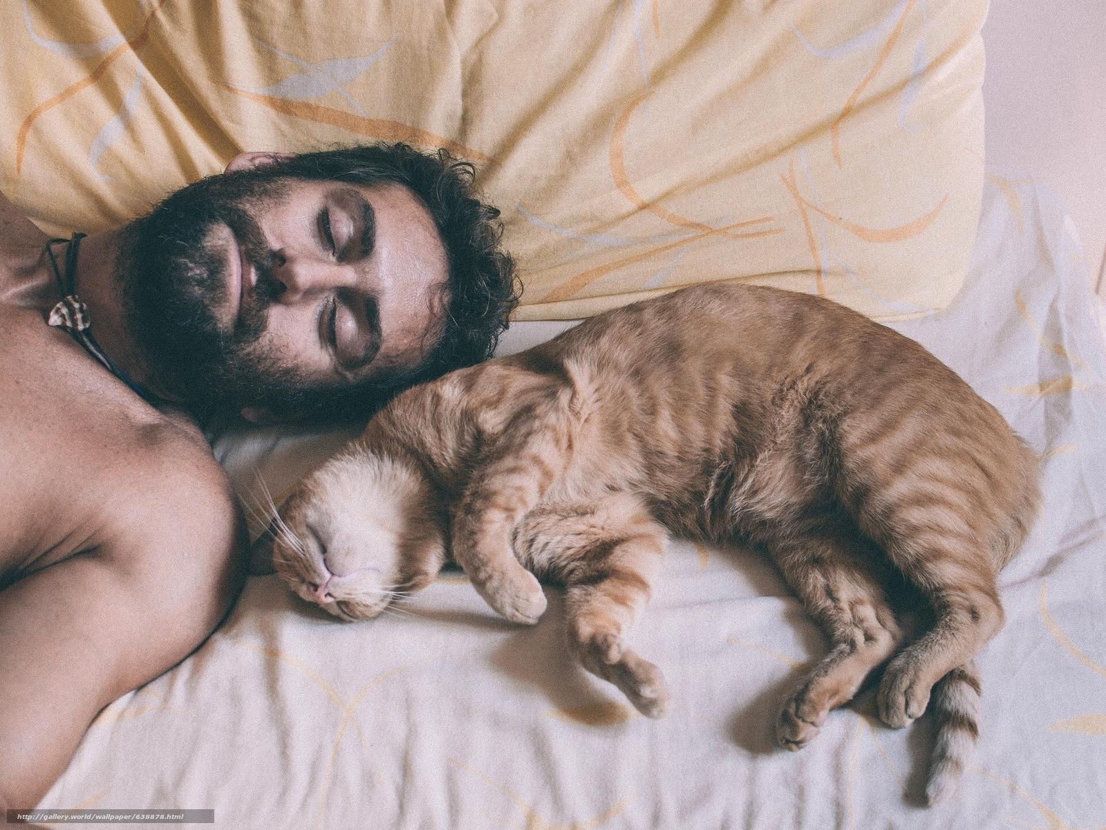 scaricare gli sfondi uomo,  gatto,  sogno,  ricreazione Sfondi gratis per la risoluzione del desktop 1920x1440 — immagine №638878