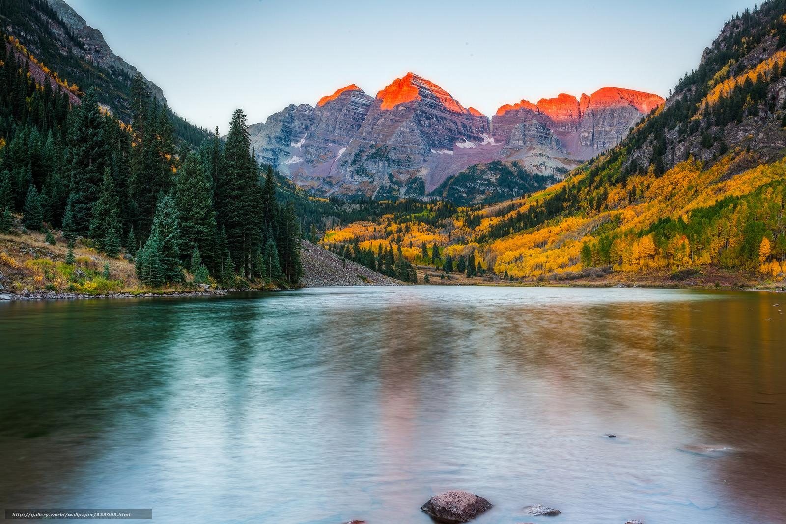 Download wallpaper : Maroon Bells,  Colorado.ozero,  Mountains,  trees free desktop wallpaper in the resolution 2048x1365 — picture №638903