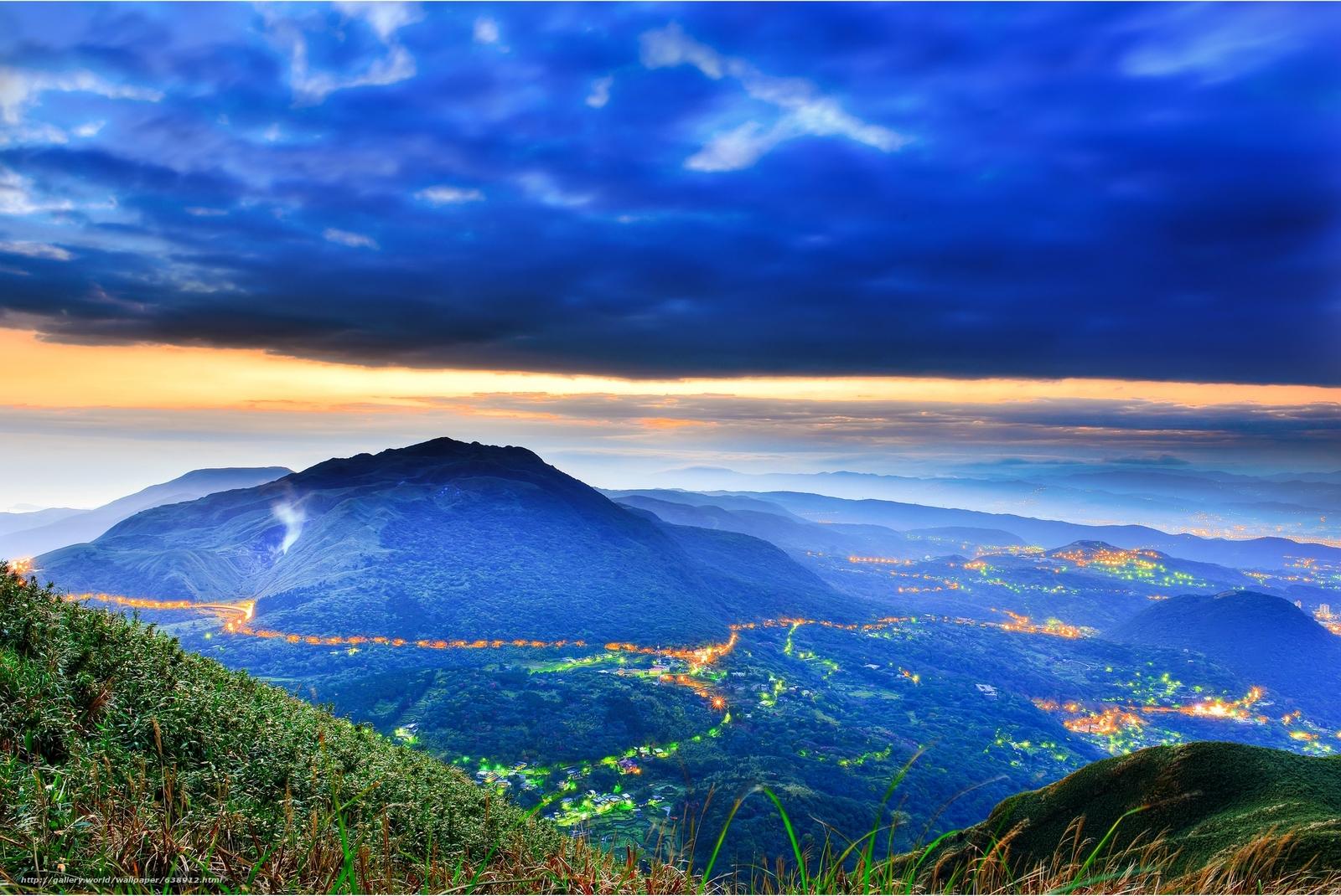 Скачать обои закат,  горы,  облака,  вид с верху бесплатно для рабочего стола в разрешении 2048x1370 — картинка №638912