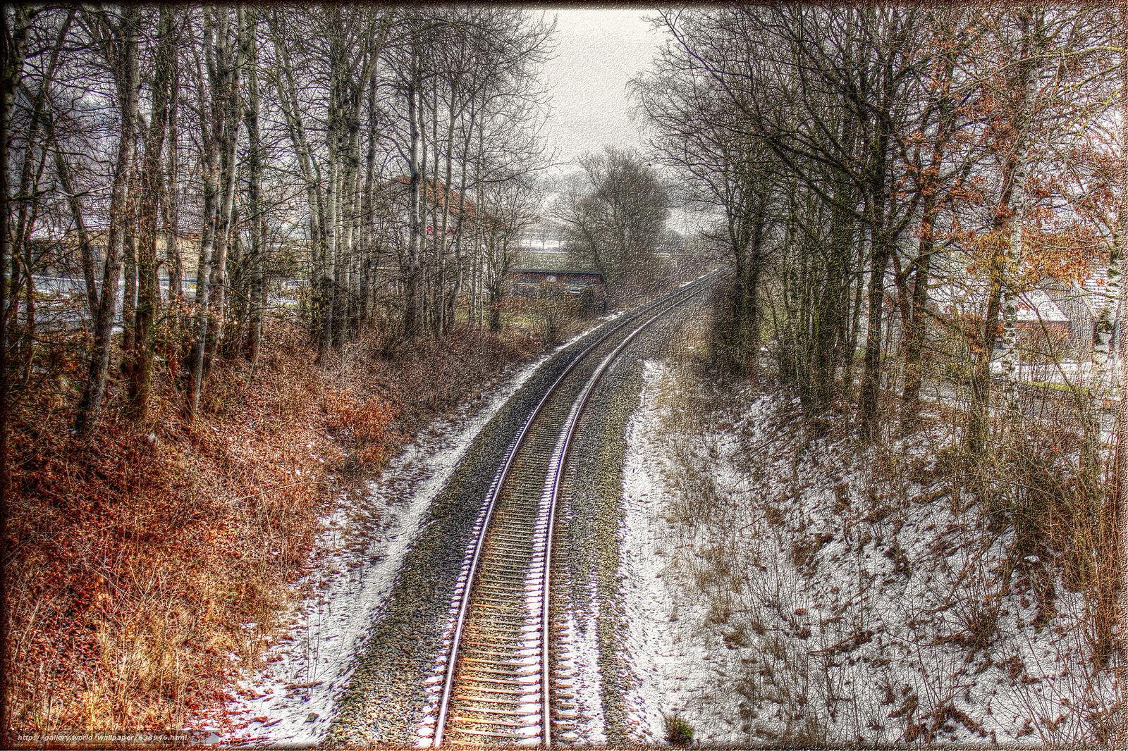 scaricare gli sfondi Binari ferroviari,  ferrovia,  inverno,  alberi Sfondi gratis per la risoluzione del desktop 2048x1365 — immagine №638946
