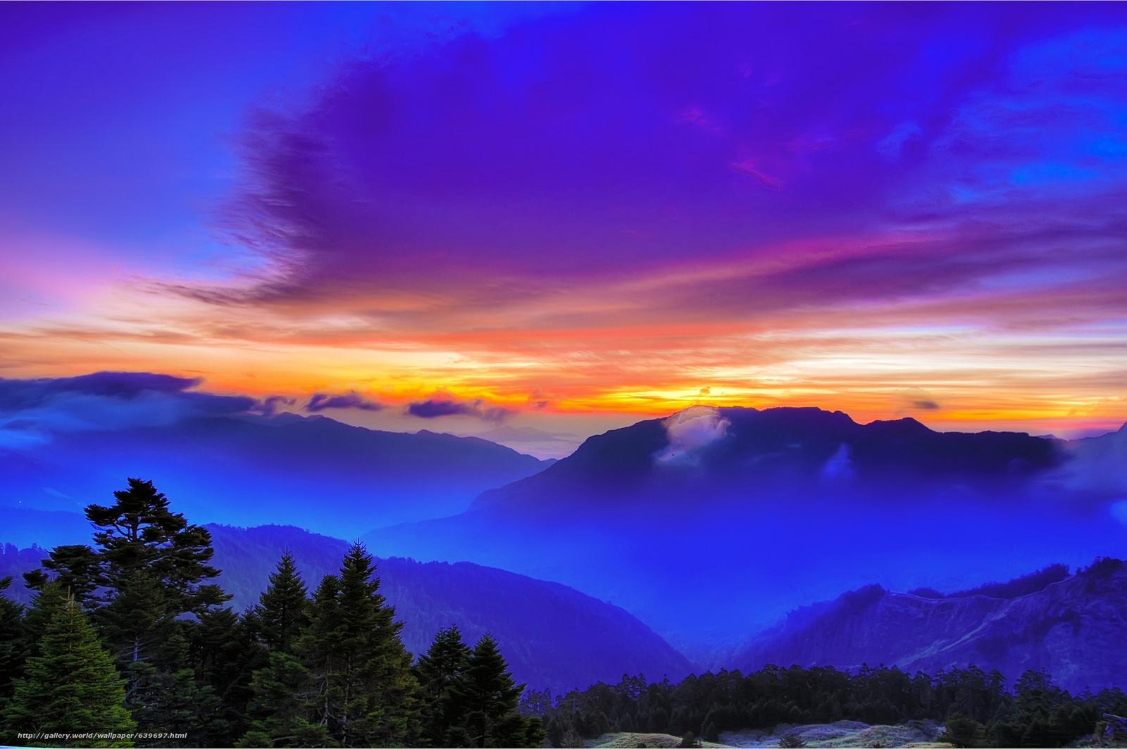 Скачать обои закат,  горы,  облака,  вид с верху бесплатно для рабочего стола в разрешении 2048x1362 — картинка №639697