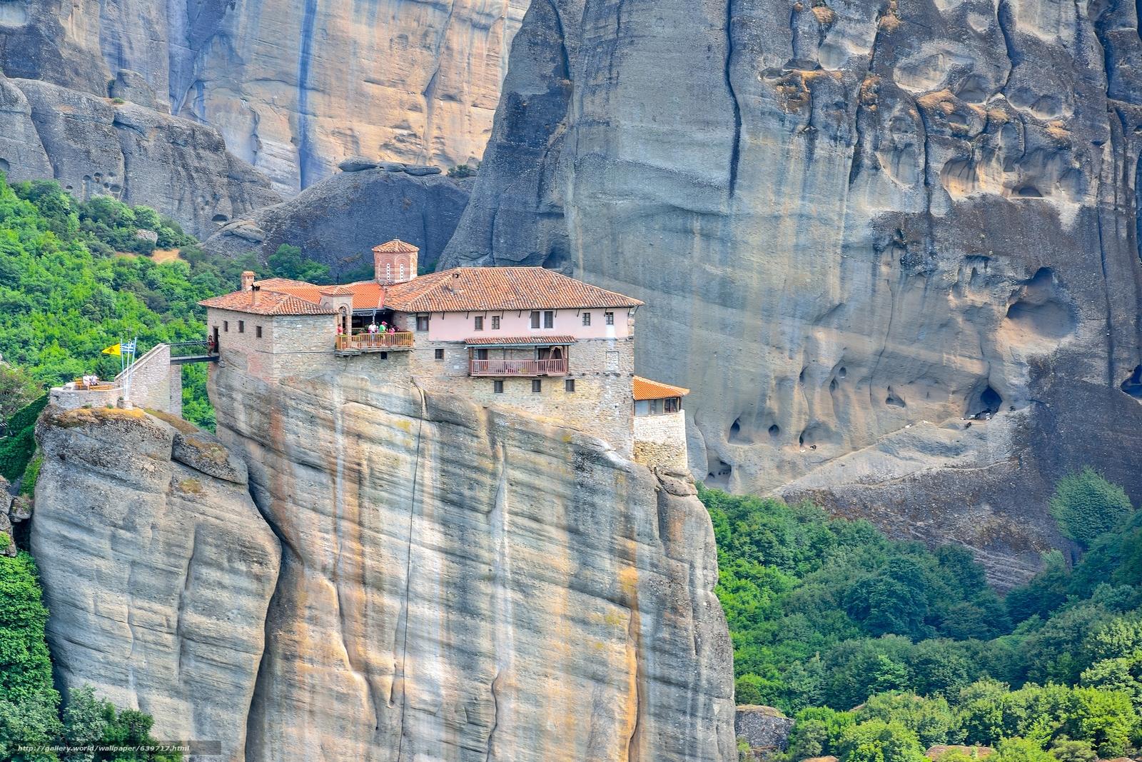scaricare gli sfondi Griechenland,  Meteora Kloster,  Montagne,  Rocce Sfondi gratis per la risoluzione del desktop 5458x3639 — immagine №639717