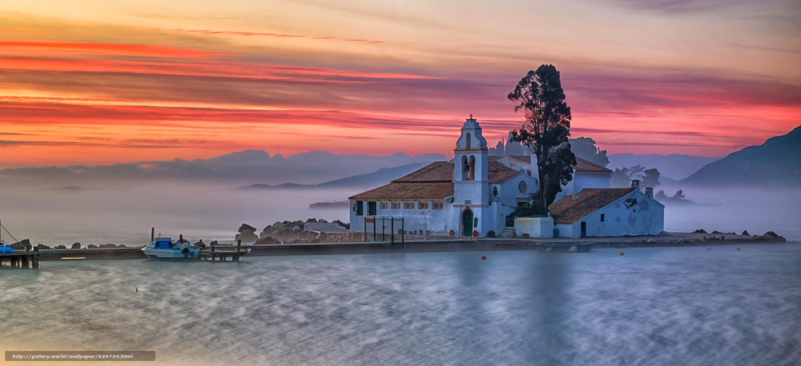 Download wallpaper Vlacherna Monastery,  Corfu,  Greece,  Ionian Sea free desktop wallpaper in the resolution 5979x2731 — picture №639734