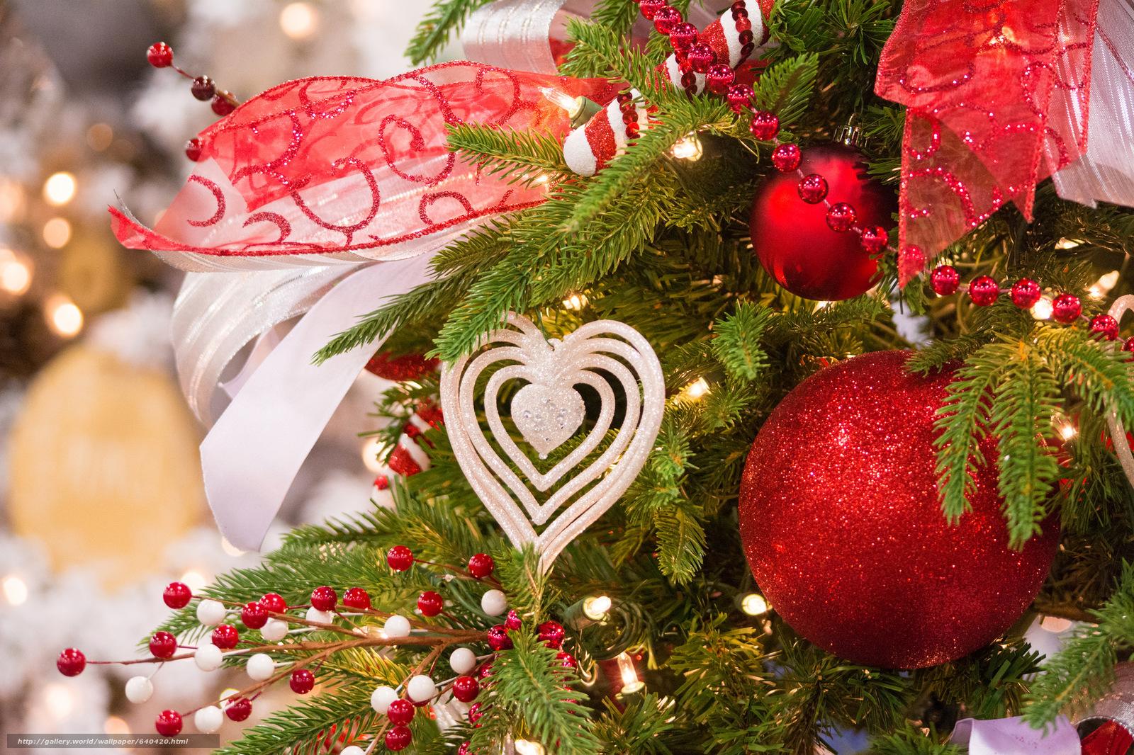 Download wallpaper New Year,  fir-tree,  Balls,  ornamentation free desktop wallpaper in the resolution 2048x1365 — picture №640420