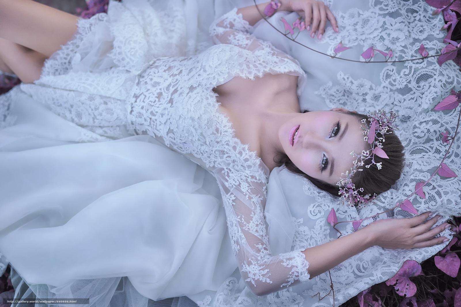 Скачать обои азиатка,  невеста,  свадебное платье,  венок бесплатно для рабочего стола в разрешении 2048x1365 — картинка №640956