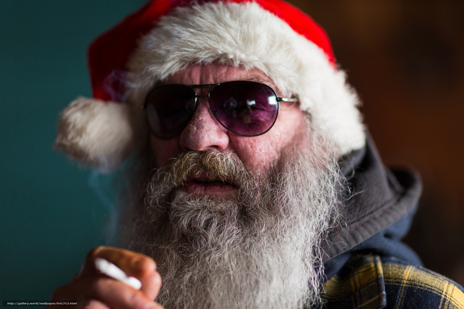 Download wallpaper santa,  beard,  glasses,  cap free desktop wallpaper in the resolution 2048x1365 — picture №641712