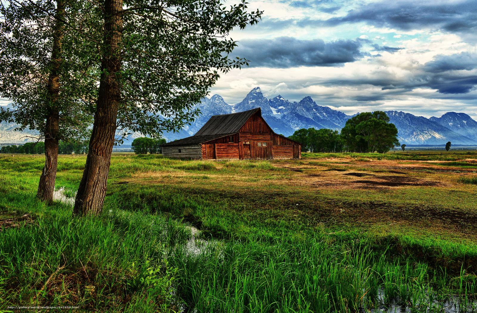 scaricare gli sfondi thomas Granaio di Moulton,  Grand Teton National Park,  Wyoming,  capanna Sfondi gratis per la risoluzione del desktop 2048x1343 — immagine №642958