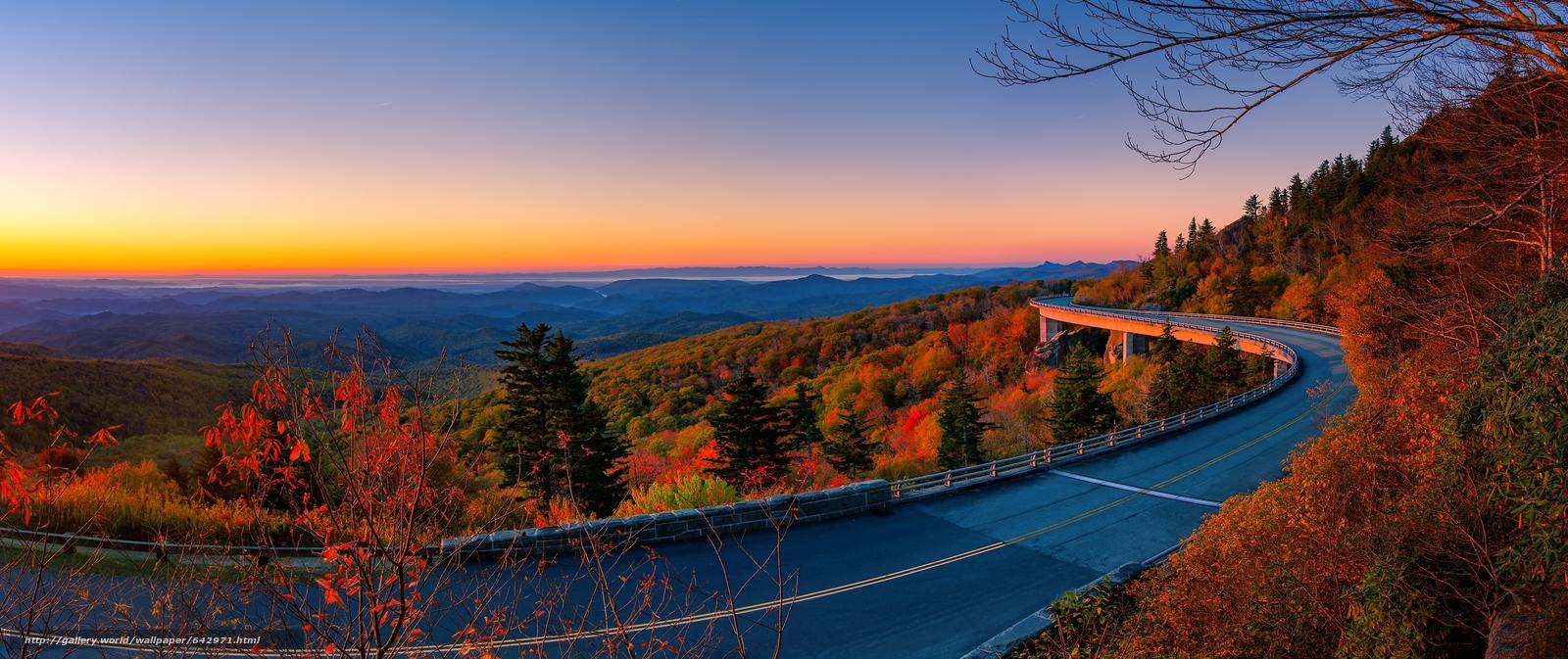 scaricare gli sfondi Highway Linn Cove,  Viadotto Cove Linn,  USA,  ponte Sfondi gratis per la risoluzione del desktop 3420x1438 — immagine №642971